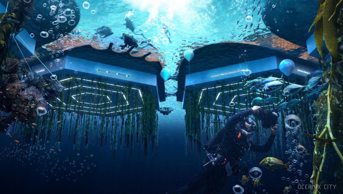 Así se vería desde las profundidades  / Oceanix City
