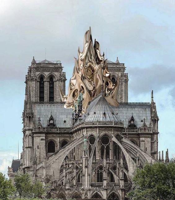 Propone gran escultura metálica con la forma de una llama que haga referencia al incendio / MATHIEU LEHANNEUR