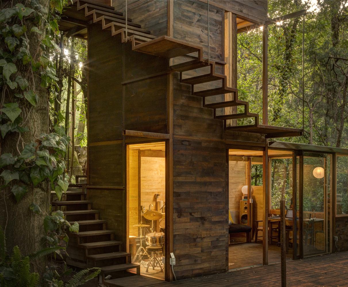 Inspirada en los árboles que la rodean, la alta y protectora estructura se para firmemente sobre el terreno empinado. / Studio Chirika
