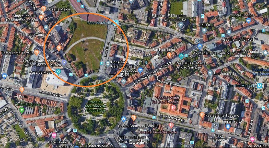 Ubicación de los terrenos en el barrio de Boavista (Oporto) / Google Maps