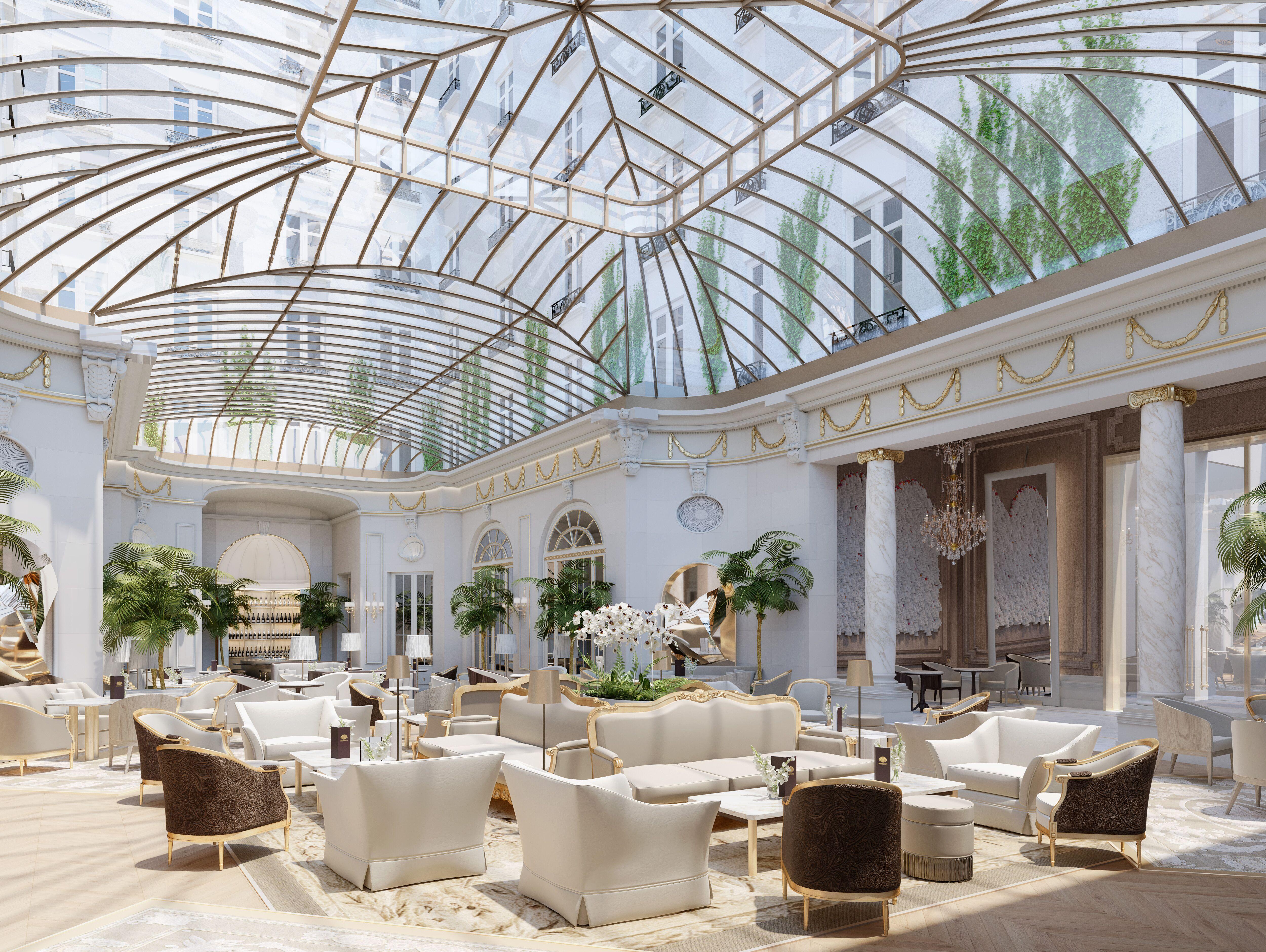 Es el famoso jardín del hotel, con la cúpula de cristal original