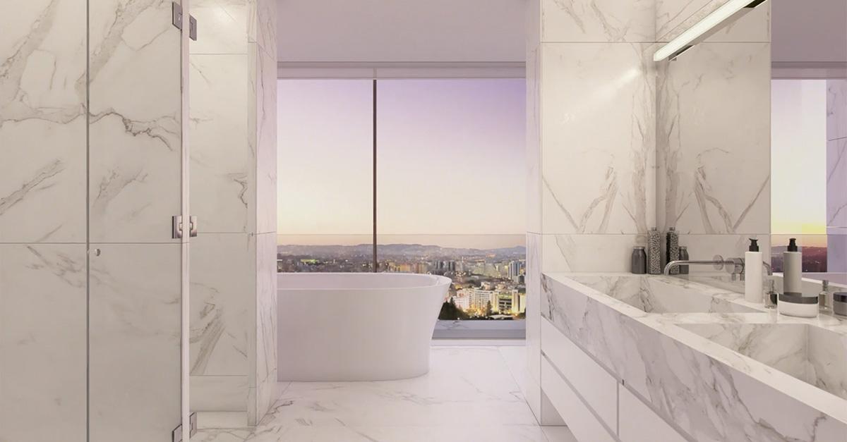 Bañera vista y todo de mármol