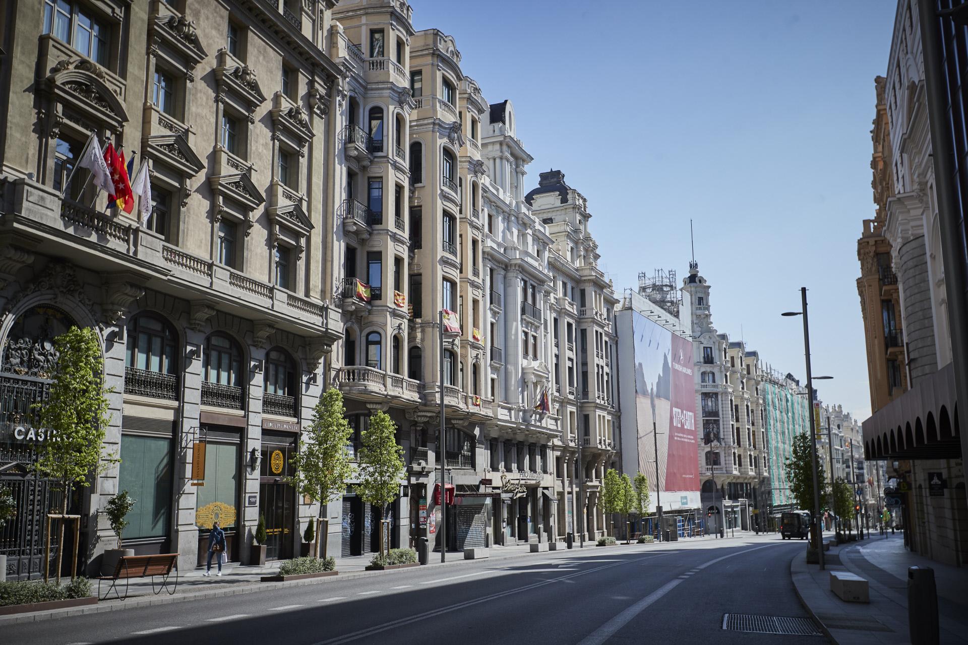 La Gran Vía de Madrid, vacía por el coronavirus / Gtres