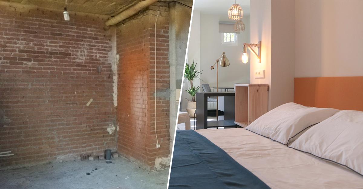 Imagen del antes y el después de un local convertido en vivienda / Jon Goitia