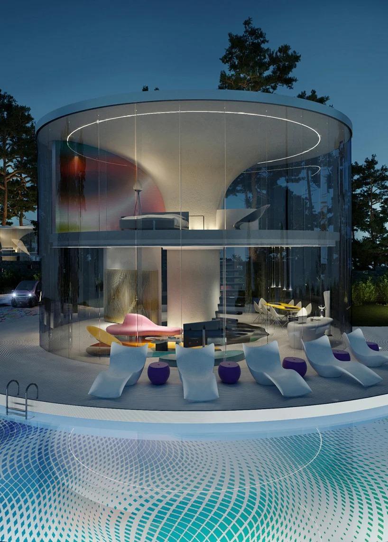 Disk House, de noche / Karim Rashid