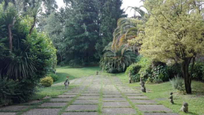 Un camino rodeado de estatuas