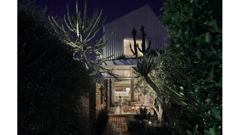 La casa, rodeada de vegetación