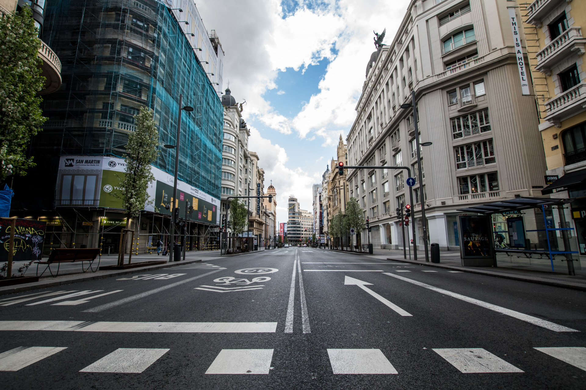 Imagen de la calle Gran Vía (Madrid) vacía / Gtres