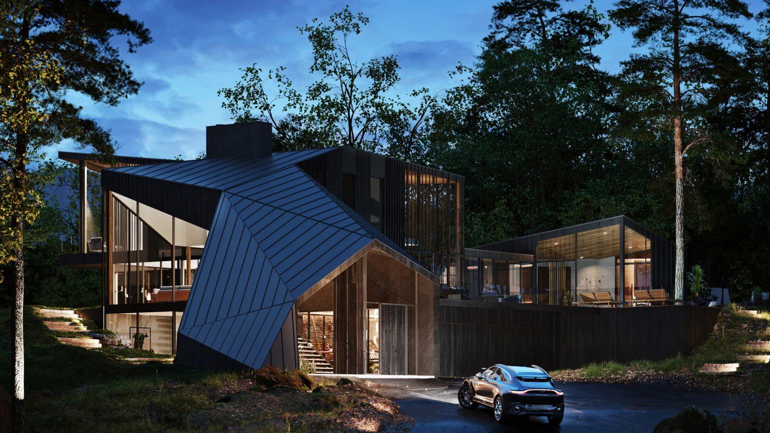 Vista nocturna de la vivienda / S3 Architecture/Corcoran Country Living