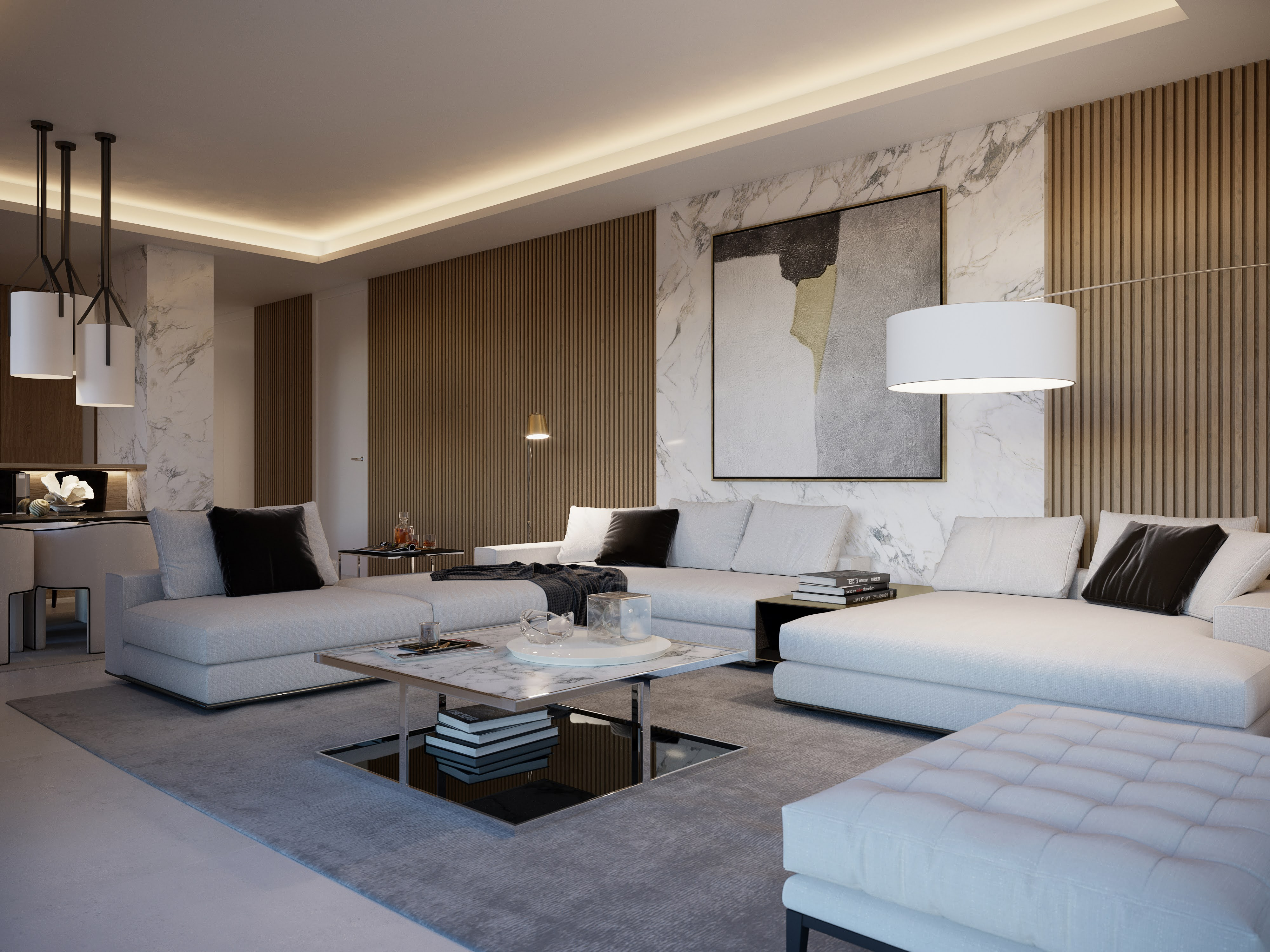 Grandes sofás que adornan el espacio
