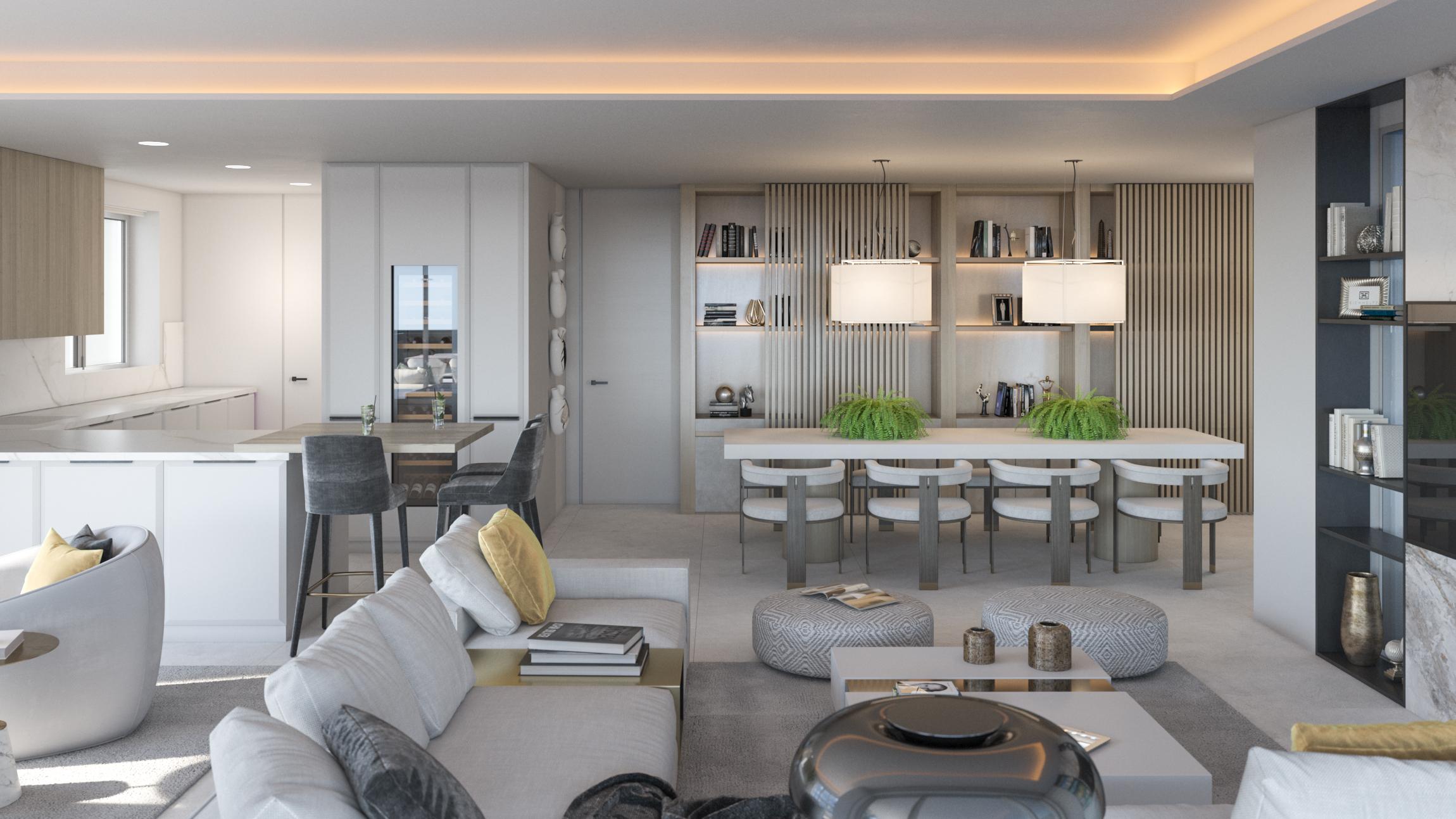 Cocina, salón y comedor en un espacio