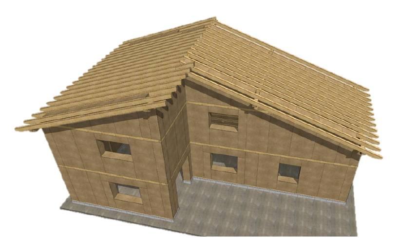 Recreación en 3D de una casa paja / Ecopaja