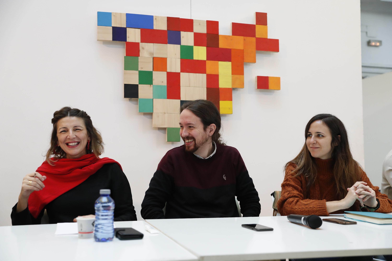 De izqda a dcha: Yolanda Díaz, Pablo Iglesias y Ione Belarra / Gtres