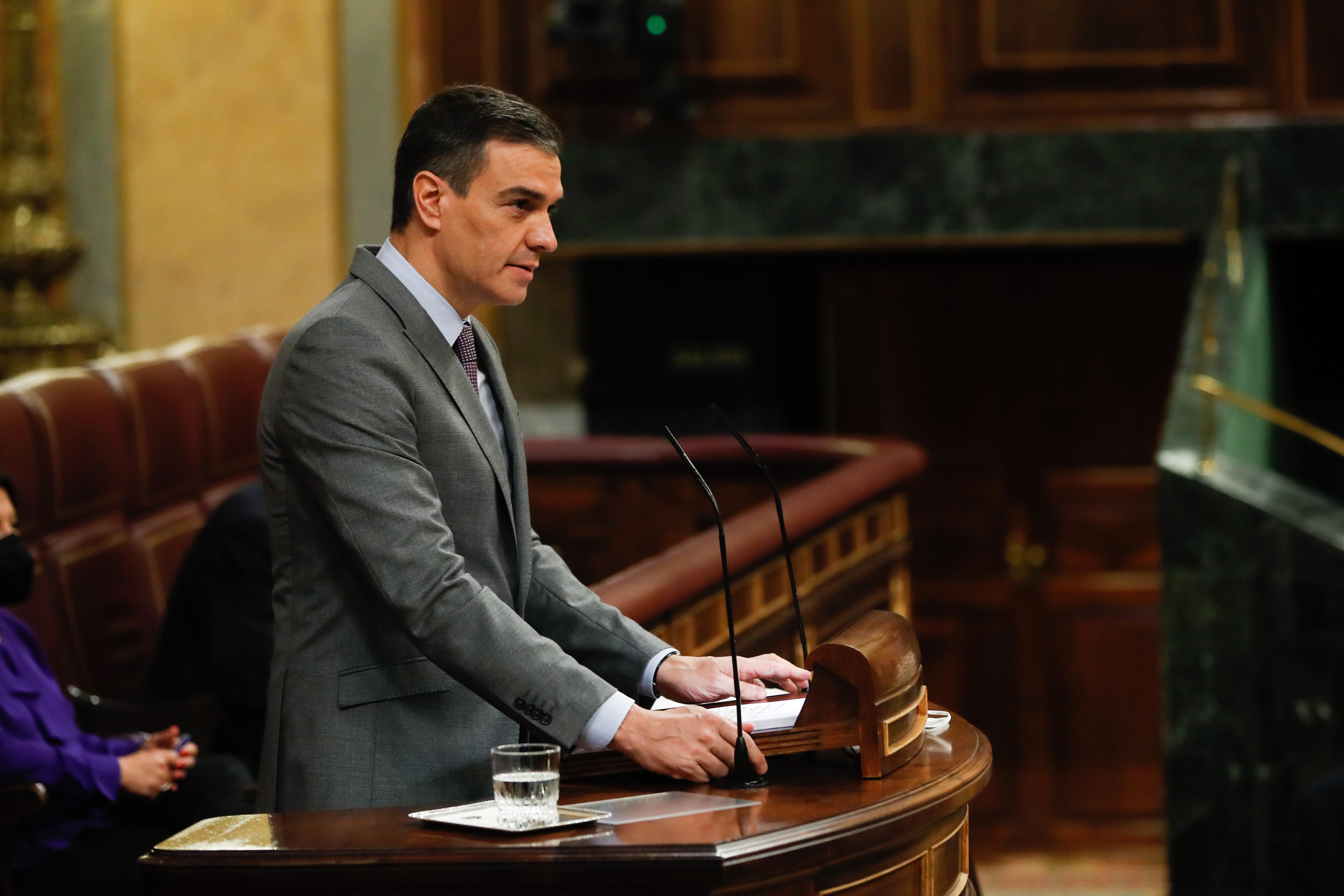 El presidente del Gobierno, Pedro Sánchez, durante su comparecencia / Gtres