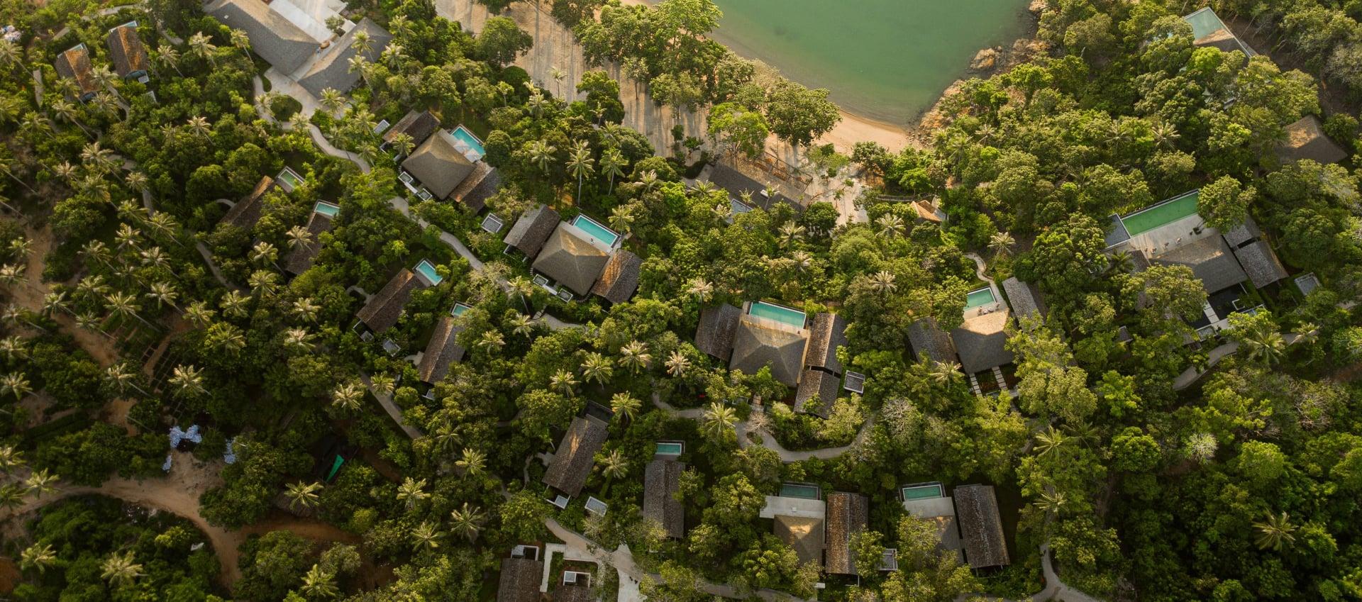 Las villas están al lado del océano