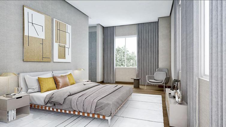 Una habitación amplia y luminosa
