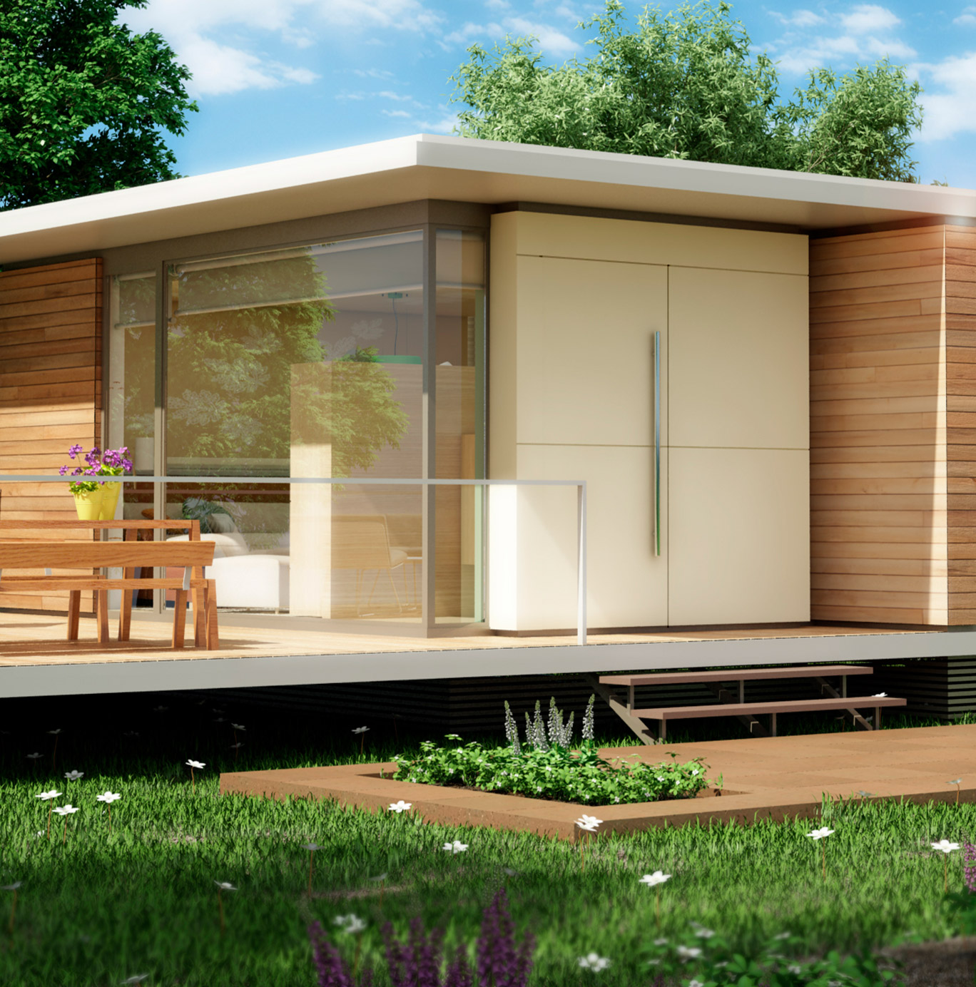 El porche de una de las casas de Nevo / Nevo