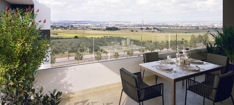 Vista de una terreza de una promoción de AEDAS Homes en Dos Hermanas (Sevilla)