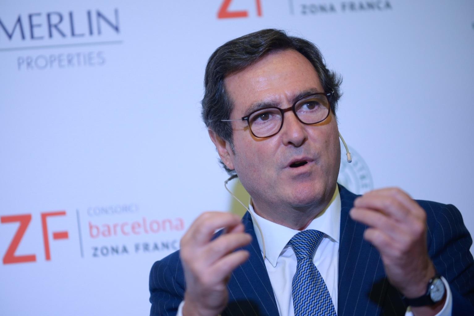 El presidente de la CEOE, Antonio Garamendi, durante el acto / PAUL MAC MANUS - CIRCULO ECUESTRE