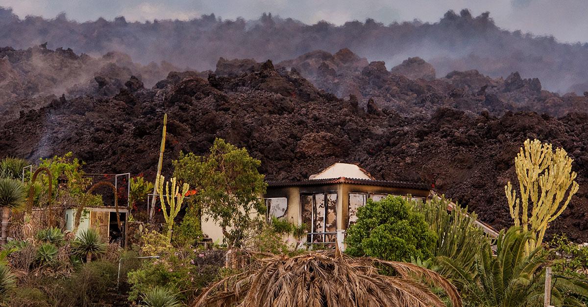 La devastación en la zona afectada por el volcán en La Palma / Gtres