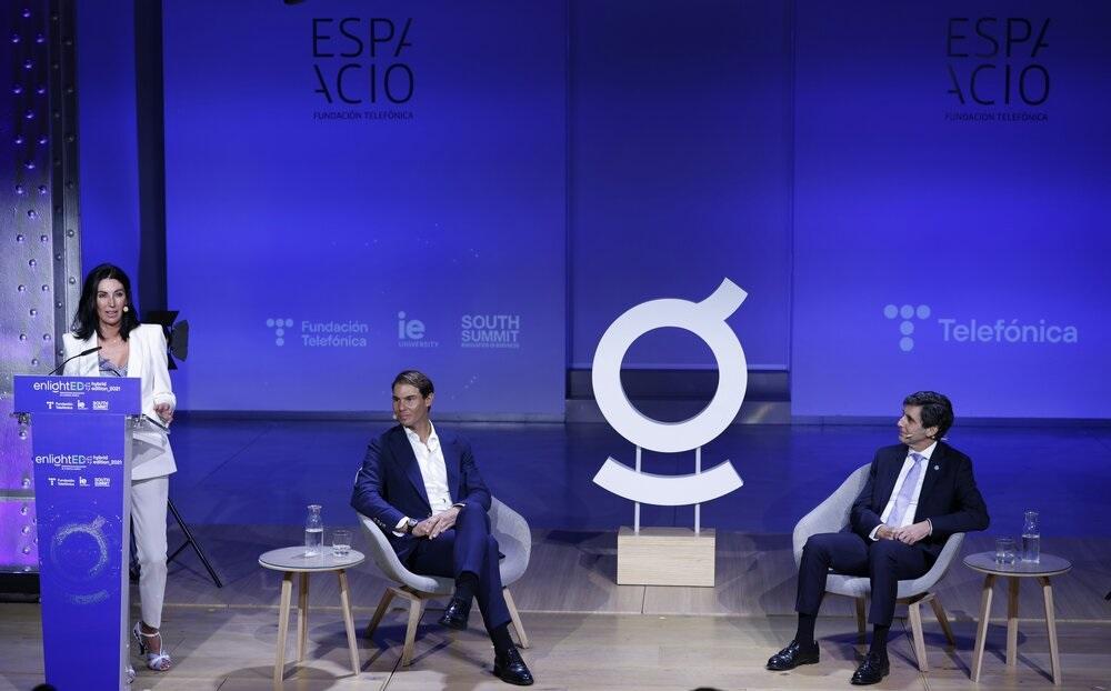 El tenista Rafa Nadal y el presidente de Telefónica, José María Álvarez-Pallete, en la inaguración de EnlightED