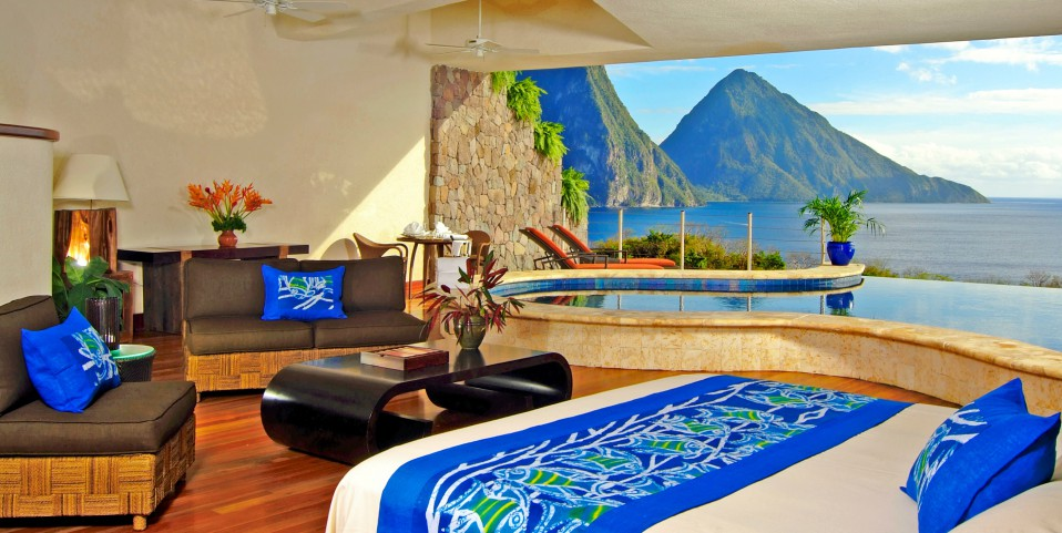 La habitación del hotel de lujo en el Caribe
