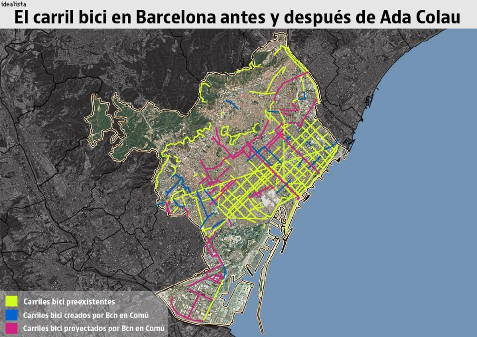 Mapa Carril Bici Barcelona.Barcelona Licita 62 5 Km Nuevos De Carril Bici Que Conectara