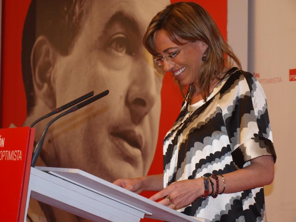 Carme Chacón, desde la sede del PSC anunciando la victoria del PSOE en las Generales de 2008. / N.B.