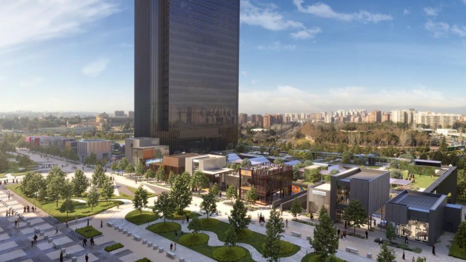 Recreación de la torre y el centro comercial