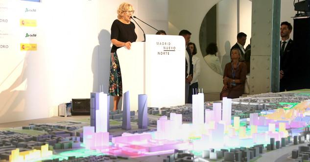 La alcaldesa de Madrid, Manuela Carmena, durante el evento