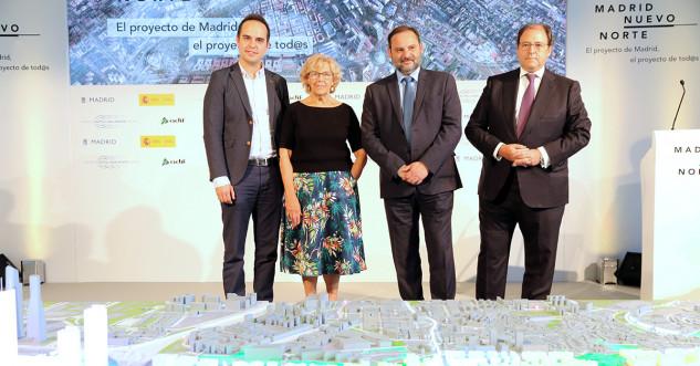 JM Calvo (concejal Urbanismo), la alcaldesa Manuela Carmena, el ministro de Fomento José Luis Ábalos y el presidente de DCN