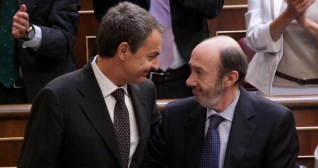 rodríguez zapatero y pérez rubalcaba en un momento del debate sobre el estado de la nación