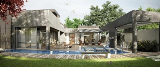 moderna vivienda con piscina