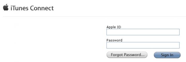 captura de pantalla de la página de acceso a itunes connect