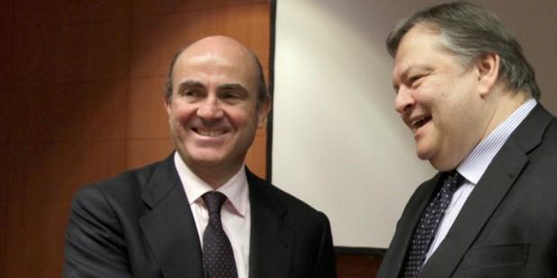 luis de guindos (izqda) con el ministro griego de finanzas, evangelos venizelos