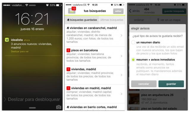 así es el aspecto de la renovada app de idealista.com para dispositivos móviles