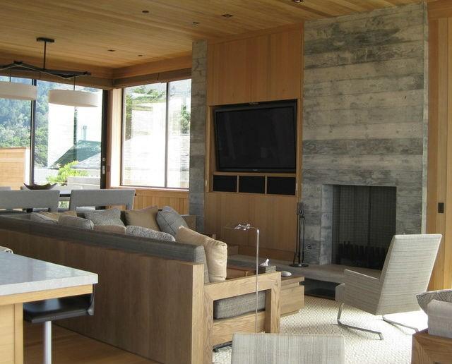 ideas para combinar la televisión y la chimenea