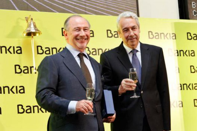 rodrigo rato (expresidente de Bankia) y Antonio Zoido (presidente de grupo BME) fuente: dani castillo / Idealista News