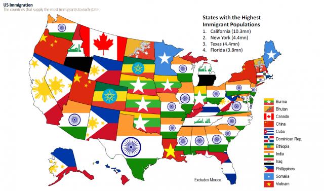 Muito Imagen del día: El mapa de la inmigración en Estados Unidos, por  FK17