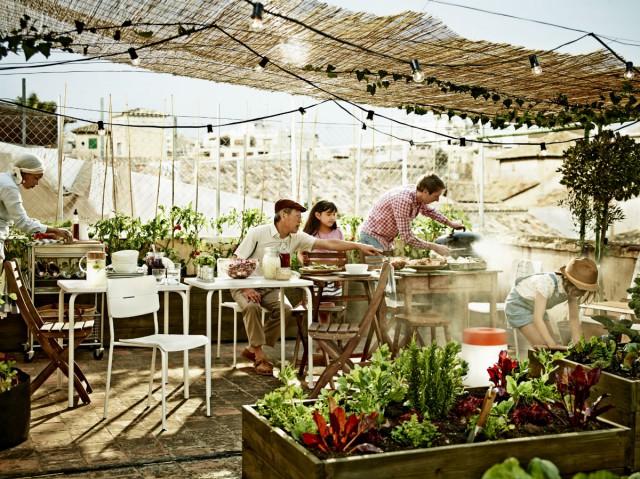 Terraza decorada  con mesas y plantas