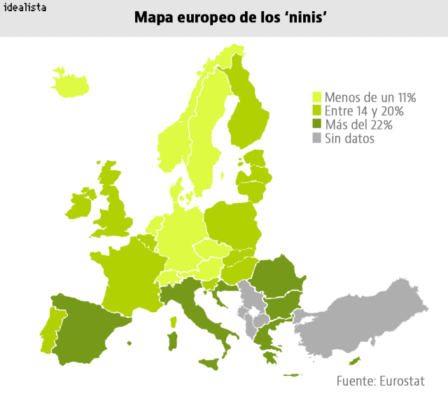 El mapa de los 'ninis' en Europa: la tasa de España supera en más de dos veces a la de Alemania