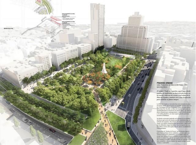 Proyecto de remodelación Plaza de España. Diseño 'Pradera Urbana'