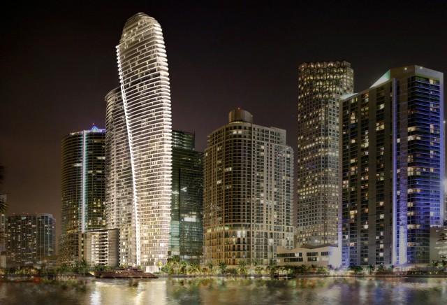 Representación nocturna del futuro complejo residencial de Aston Martin. Fuente: astonmartin.com