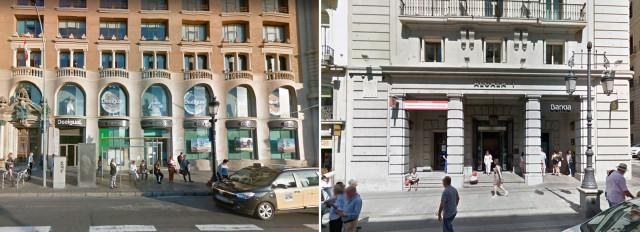 Las oficinas de Barcelona y Madrid que salen a la venta están en pleno centro de las ciudades / Google Maps