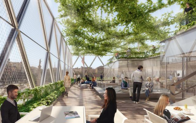 El edificio se completa con una terraza acristalada / CBRE Global Investors