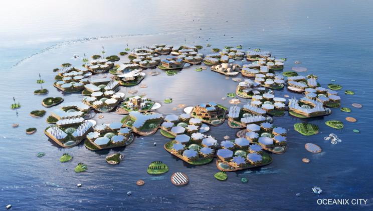 Aspecto que tendría la ciudad flotante / Oceanix City