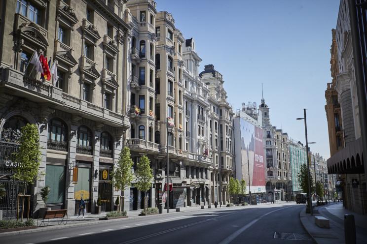 Gran Vía de Madrid en pleno covid-19 / Gtres